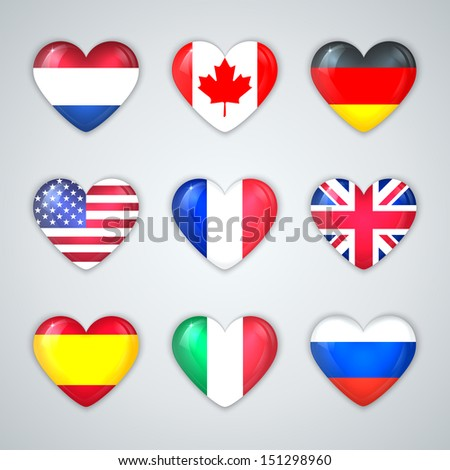 Glass Heart Flags of Countries Icon Set.  Vector Illustration. - stock vector