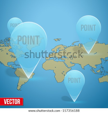 Glass icon on the map markers. The symbol and pointer for navigate on the map or on the internet - stock vector