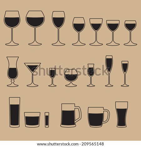 Glass icon set. Stemware for a different drinks.  Beer glass, Wine glass and Cups isolated icons collection. Vector illustration. - stock vector