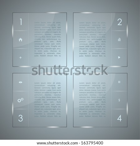Glass infographic. Transparent glass plates. vector - stock vector