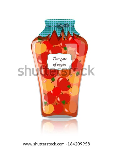 Glass jar of preserved apples - stock vector