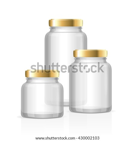 glass jars bottles empty transparent small medium and large vector