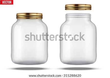 Glass Jars for canning and preserving. With cover and without lid.