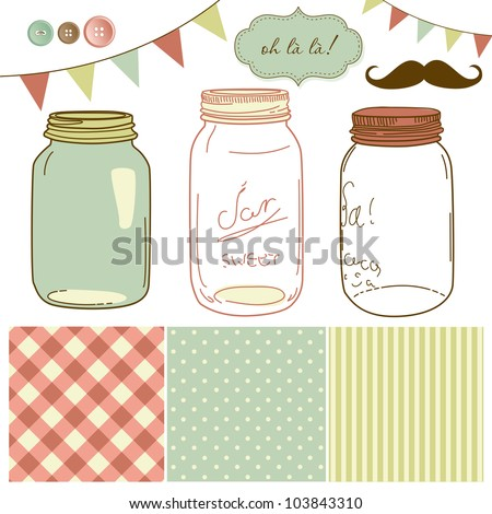 Glass Jars, frames and cute seamless backgrounds. Ideal for wedding invitations. - stock vector