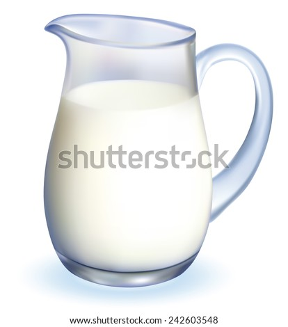 Glass jug pitcher of fresh milk isolated on white background. EPS-10