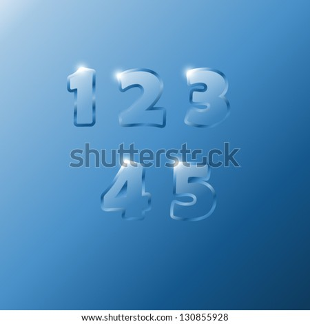 Glass Numbers 1,2,3,4,5 - stock vector