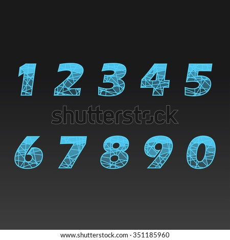 glass numbers. Vector illustration