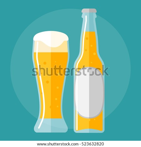 glass of beer and bottle flat icon.