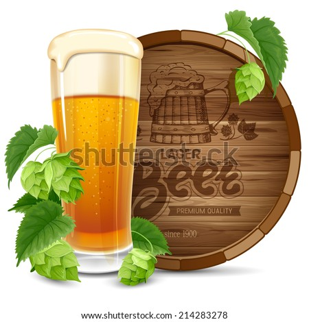 Glass of beer, barrel and hops isolated on white background - stock vector