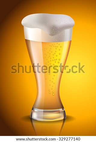 Glass of beer created with gradient meshes