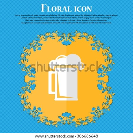 glass of beer. Floral flat design on a blue abstract background with place for your text. Vector illustration - stock vector