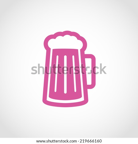 Glass of beer Icon Isolated on White Background - stock vector