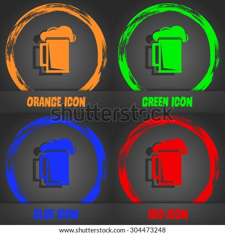 glass of beer icon symbol. Fashionable modern style. In the orange, green, blue, green design. Vector illustration - stock vector
