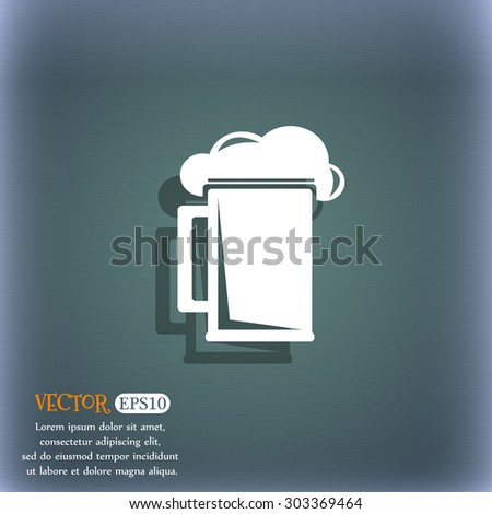 glass of beer icon symbol on the blue-green abstract background with shadow and space for your text. Vector illustration - stock vector