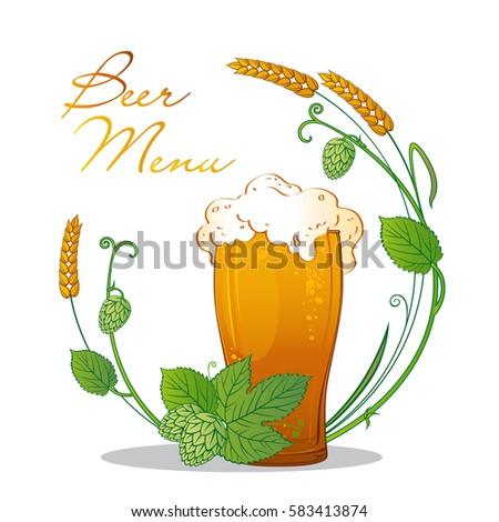 Banner beer bottle mug glass malt stock vector 610268549 for Beer bottle picture frame