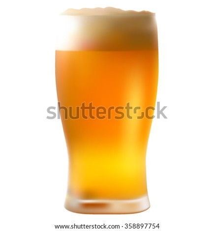 Glass of beer isolated. - stock vector