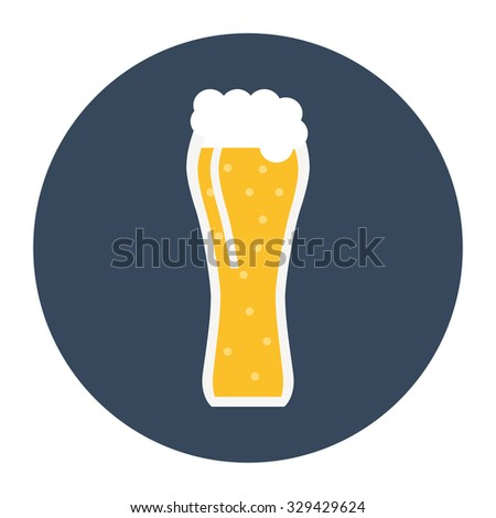 Glass of beer. Light beer with foam in glass. Isolated glass of beer icon on background. Flat style vector illustration.  - stock vector