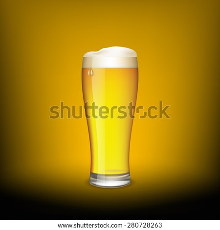 Glass of beer on a dark background. Vector Image.