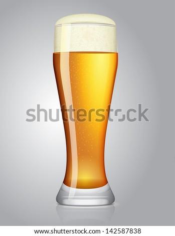 glass of beer, vector illustration - stock vector