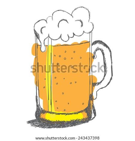 Glass of beer, vector sketch, doodle. - stock vector