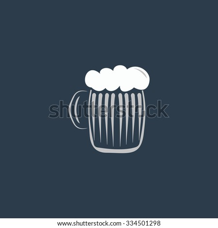 Glass of beer with foam. Colorful vector icon. Simple retro color modern illustration pictogram. Collection concept symbol for infographic project and logo - stock vector