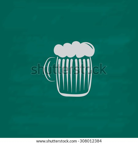Glass of beer with foam. Icon. Imitation draw with white chalk on green chalkboard. Flat Pictogram and School board background. Vector illustration symbol - stock vector