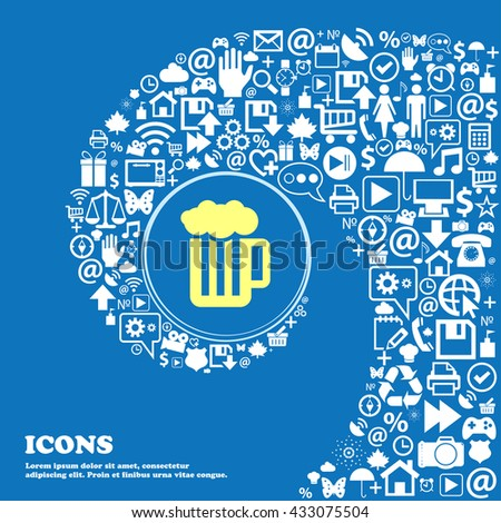 Glass of beer with foam icon . Nice set of beautiful icons twisted spiral into the center of one large icon. Vector illustration - stock vector