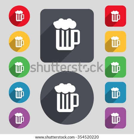 Glass of beer with foam icon sign. A set of 12 colored buttons and a long shadow. Flat design. Vector illustration - stock vector