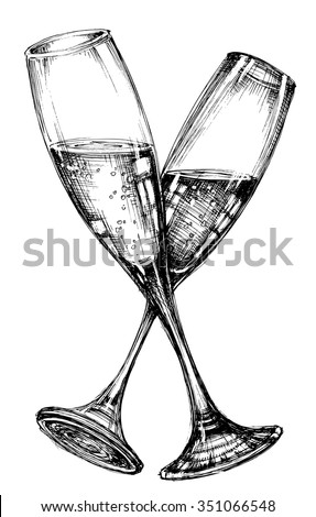 Glass of champagne - stock vector