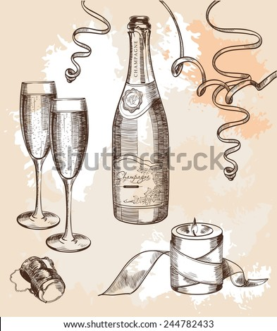 glass of champagne and a festive mood set of vector sketches