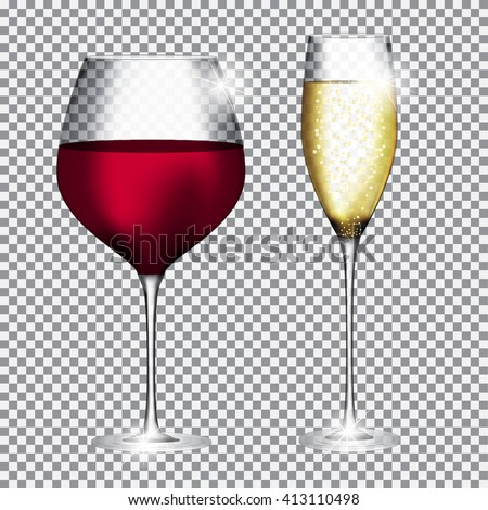 Glass of Champagne and Wine on Transparent Background Vector Illustration EPS10 - stock vector