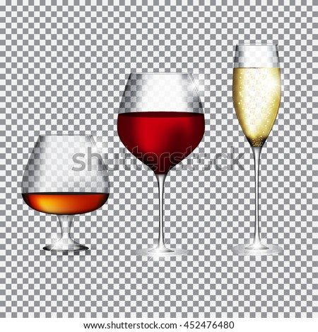 Glass of Champagne, Cognac and Wine on Transparent Background Vector Illustration EPS10