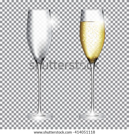 Glass of Champagne Full and Empty on Transparent Background Vector Illustration EPS10