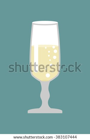 Glass of champagne. Glass for wine. Bowl with white sparkling wine