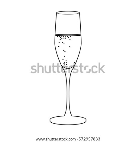 Glass Champagne Icon Outline Style Isolated Stock Vector Hd Royalty