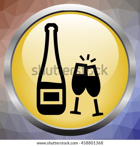 Glass of champagne isolated on a white background - stock vector