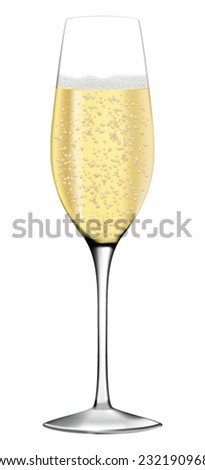 Glass of champagne or sparkling wine - vector drawing isolated