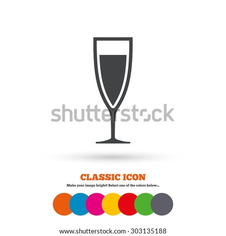 Glass of champagne sign icon. Sparkling wine. Celebration or banquet alcohol drink symbol. Classic flat icon. Colored circles. Vector - stock vector