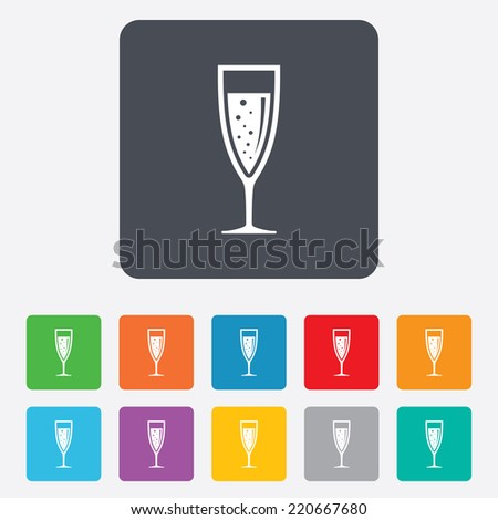 Glass of champagne sign icon. Sparkling wine with bubbles. Celebration or banquet alcohol drink symbol. Rounded squares 11 buttons. Vector - stock vector