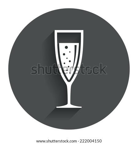 Glass of champagne sign icon. Sparkling wine with bubbles. Celebration or banquet alcohol drink symbol. Circle flat button with shadow. Modern UI website navigation. Vector - stock vector