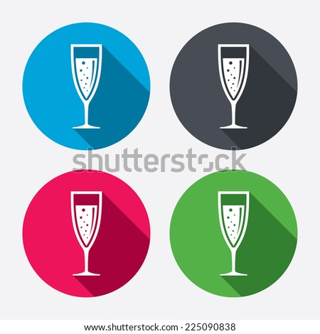 Glass of champagne sign icon. Sparkling wine with bubbles. Celebration or banquet alcohol drink symbol. Circle buttons with long shadow. 4 icons set. Vector - stock vector