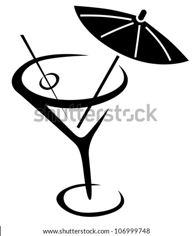 Glass of cocktail with umbrella - stock vector