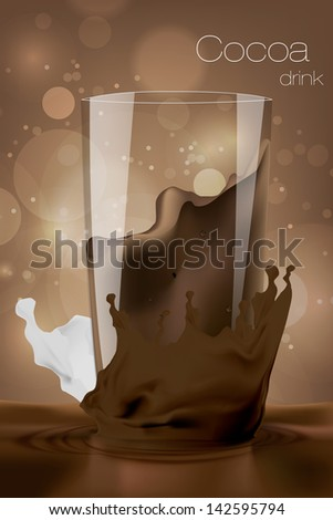 Glass of cocoa with milk in the coffee background. Vector illustration. - stock vector
