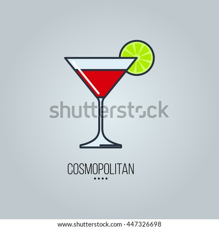 glass of cosmopolitan cocktail vector icon