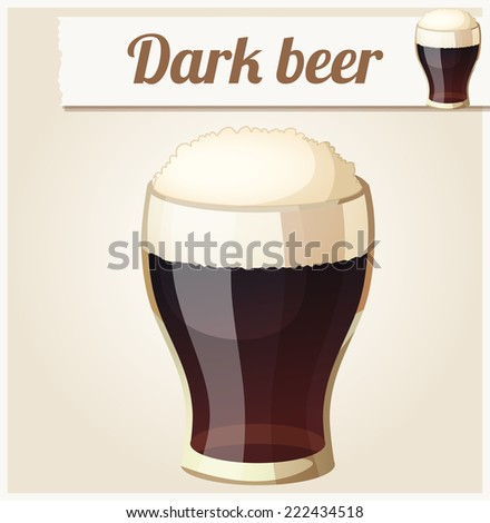 Glass of dark beer. Detailed Vector Icon. Series of food and drink and ingredients for cooking. - stock vector