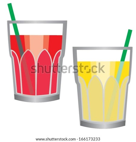 Glass of juice isolated on white background
