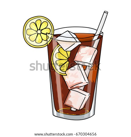 Glass Long Island Ice Tea Cocktail Stock Vector 670304656 ...