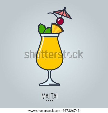 glass of mai tai cocktail vector icon