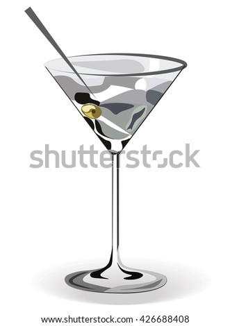 Glass of Martini cocktail isolated. Vector watercolor technique