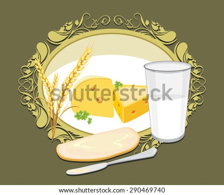 Glass of milk, a slice of white bread with butter and cheese for breakfast. Label. Vector - stock vector